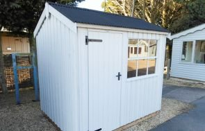 1.8 x 2.4m Felbrigg Garden Shed painted in Earls Grey