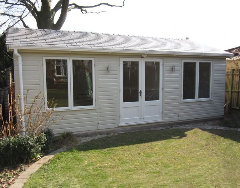Apex Garden Room in Sandstone Paint with Shiplap Cladding and Grey Slate Effect Tiles on the roof