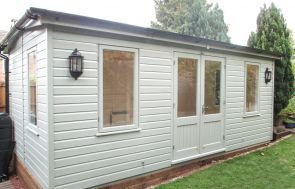 Apex Garden Room with a Low Pitch Roof painted in Lizard