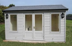 Apex Garden Room in the colour Pebble from our exterior paint system with Grey Slate Effect Tiles