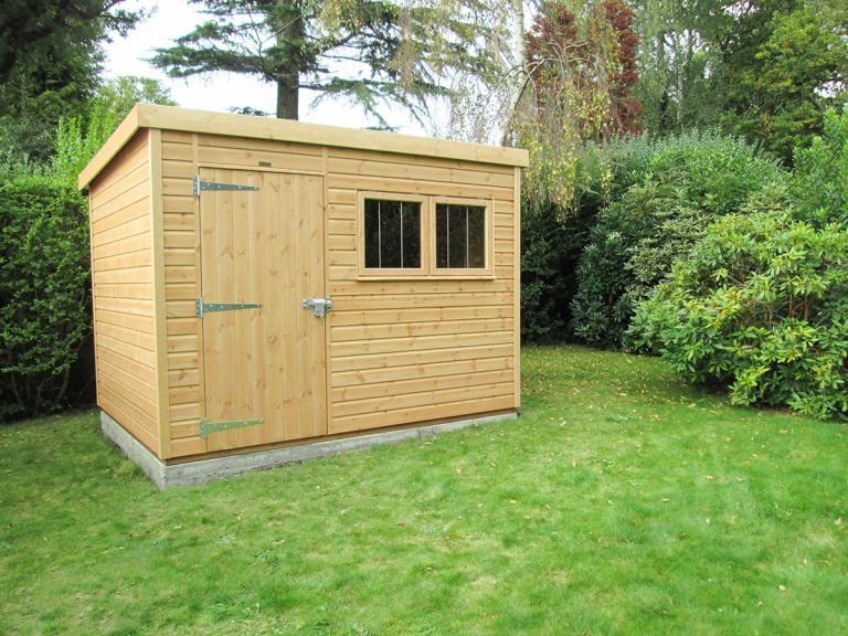 A Light Oak 2.4 x 3.0m Superior Shed with Security Pack