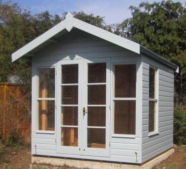 14ft x 8ft Blakeney Summerhouse with an Overhanging Apex Roof covered in Heavy Duty Roofing Felt