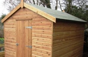 Garden Shed with smooth shiplap cladding and an apex roof covered with heavy-duty felt