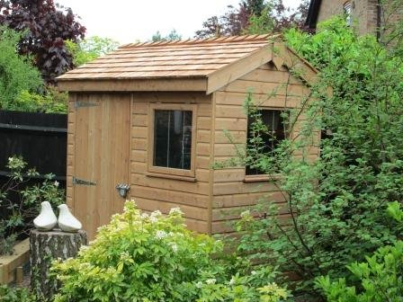 1.5 x 2.1m Superior Shed in Light Oak Preservative with Cedar Shingles on the Apex Roof
