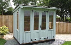 National Trust Flatford Summerhouse with a a Pent Roof covered in Black Corrugated Sheeting