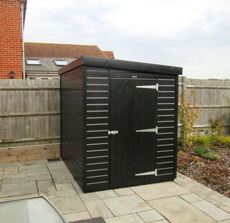 Superior Shed Pent Roof with Shiplap Cladding painted in Black from our Exterior Paint System