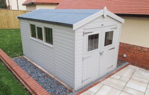 2.4 x 4.2m Superior Shed painted in Pebble with Opening Windows and a Security Pack
