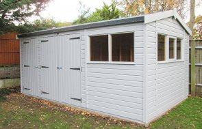3.0 x 4.8m Superior Shed with Partition painted in Pebble from our exterior paint system