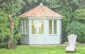 3.0 x 3.0m Wiveton Summerhouse in Exterior Paint System Sage with Leaded Windows