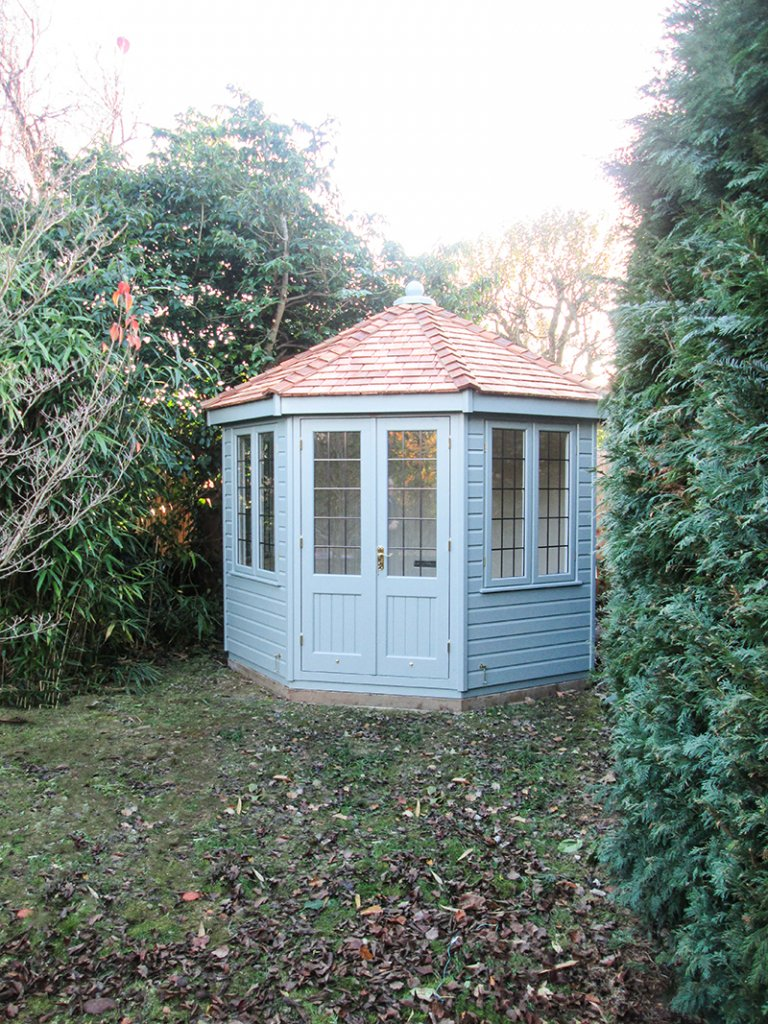 3.0 x 3.0m Wiveton Summerhouse in Exterior Paint SystemSage with Double Glazed Leaded Windows