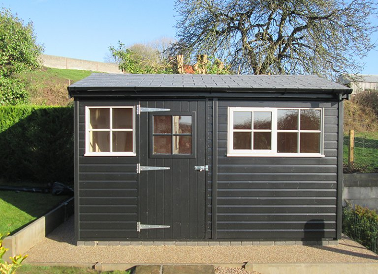 2.4 x 3.6m Superior Shed in Black and Pebble