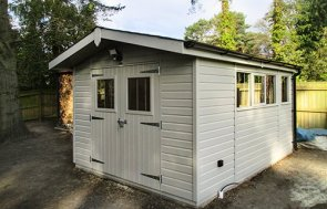 3.0 x 4.2m Superior Shed in Pebble with electric and security pack