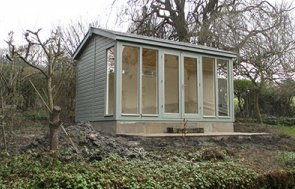 Burnham Studio in Sage with Double Glazed Windows and an Electric Pack