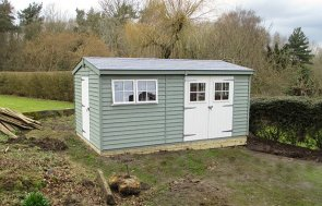 Superior Shed in Two-Tone Lizard & Ivory Paint from our Exterior Paint System
