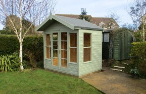 Blakeney Painted in Lizard Paint measuring 2.4 x 1.8m with an Overhanging Apex Roof