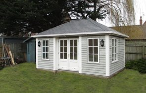 3.6 x 4.8m Garden Room in two-tone Pebble and Ivory with Weatherboard Cladding