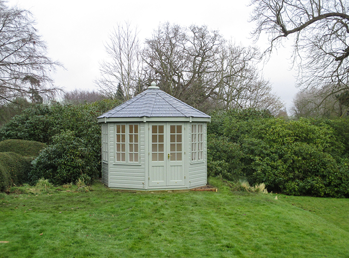 3 x 3m Wiveton Summerhouse Painted in Lizard with Grey Slate Effect Tiles on the Octagonal Roof