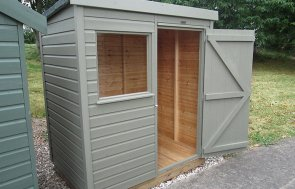 1.2 x 1.8m Classic Shed painted in colour Stone from our exterior paint system with a pent roof