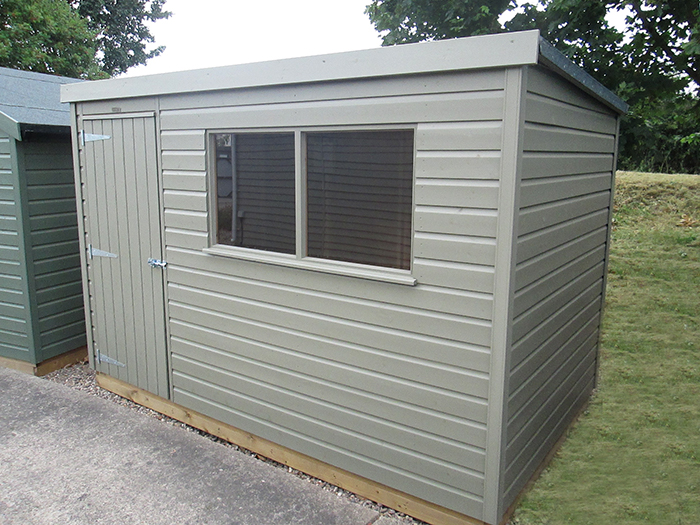 1.8 x 3.0 Classic Shed with a Pent Roof painted in the colour Stone