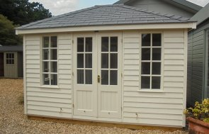 Cley Summerhouse Painted in Cream measuring 3.0 x 3.6m with Georgian Windows