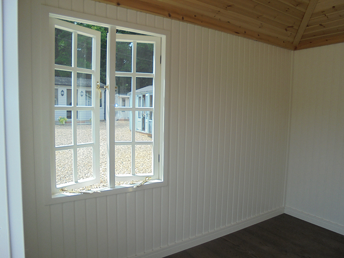 Inside a Cream Painted Cley Summerhouse