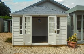 Cream painted Cley Summerhouse with Weatherboard Cladding and Georgian Windows