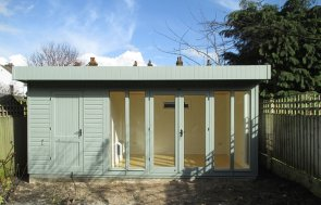 3.0 x 5.4m Sage Painted Salthouse Studio with external partition