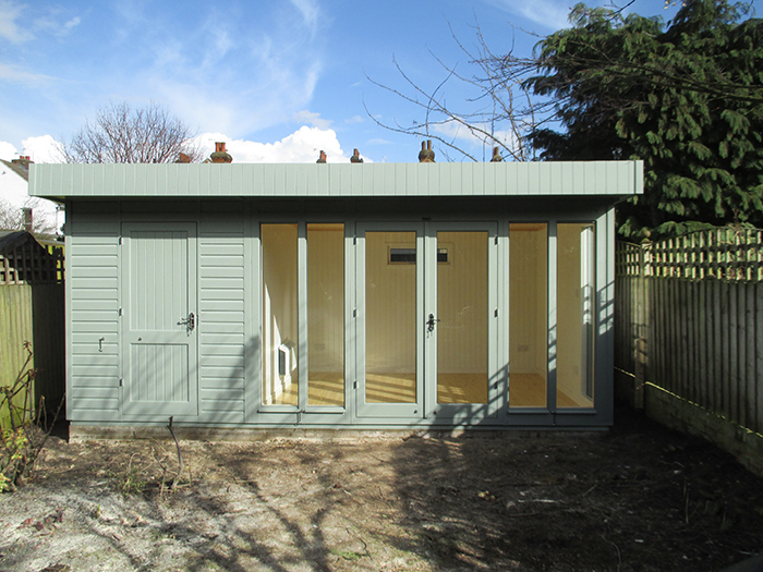 3.0 x 5.4m Sage Painted Salthouse Studio with external partition