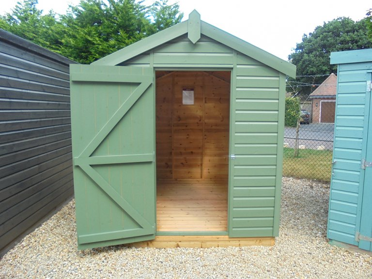 1.8 x 2.4 Classic Shed with Apex Roof painted in Moss