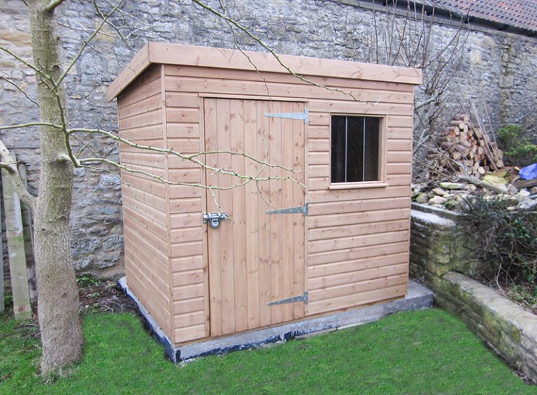 1.5 x 2.1m Superior Shed in Light Oak with pent roof and security pack