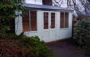 3.0 x 4.2m Holkham Summerhouse in Lizard with Leaded Windows