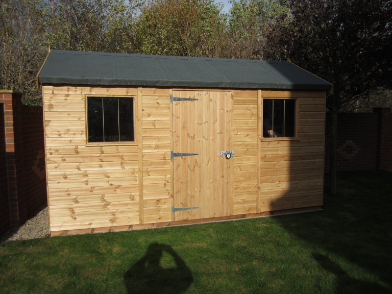 2.4 x 4.2m Superior Shed in Light Oak with Security Pack
