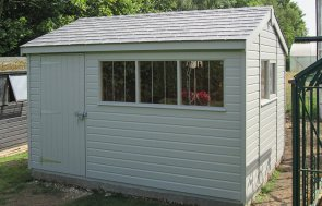 Painted 2.4 x 3.6m Superior Shed with Apex Roof and Security Pack