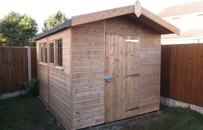 2.4 x 3.6m Superior Shed with Overhanging Apex roof in Light Oak