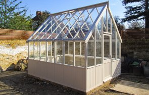 3.0 x 3.6m Greenhouse painted in Twine with internal Workbench
