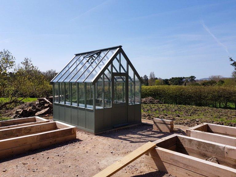 2.4 x 3.0m Greenhouse painted in Farrow & Ball Green Smoke