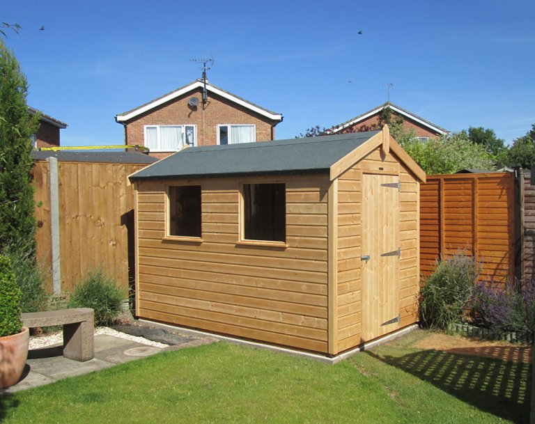 1.8 x 3.0m Classic Shed With Apex Roof and Shiplap Cladding treated with a Light Oak Preservative