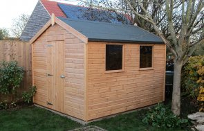 2.4 x 3.0m Classic Shed treated with a Light Oak Preservative