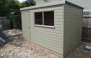 1.8 x 3.0m Classic Shed with Shiplap Cladding painted in the colour stone