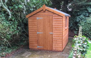 1.8 x 1.8m Superior Shed in Sikkens Mahogany with Apex Roof covered in Heavy Duty Roofing Felt