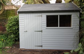 1.8 x 3.0m Superior Shed in Ivory with an Apex Roof covered in Heavy Duty Roofing Felt