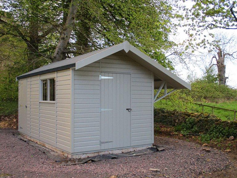 2.4 x 4.8m Superior Shed in a Custom paint from our exterior paint system with overhanging apex roof