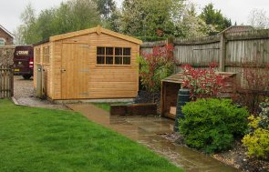 3.0 x 6.0m Superior Shed in Light Oak with Georgian Windows and Security Pack