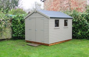 2.4 x 3.0m Classic Shed in Stone with Apex Roof covered in Heavy Duty Roofing Felt