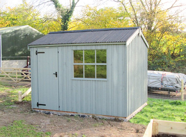2.4 x 3.0m National Trust Felbrigg in Terrace Green with a black Corrugated Roof