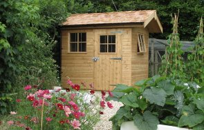 1.8 x 2.4m Superior Shed with Cedar Shingles on the Apex Roof and Georgian Windows