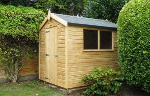 1.8 x 2.4m Classic Shed with Apex Roof covered in Heavy Duty Roofing Felt and Shiplap cladding treated with a Light Oak Preservative