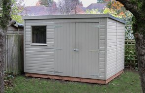 A pent garden shed with double access doors and a heavy-duty, heat-bonded felt roof