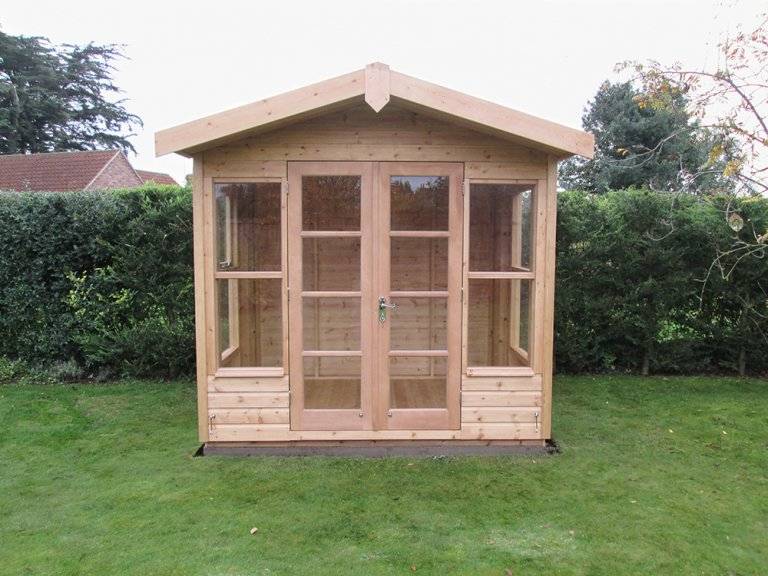 2.4 x 1.8m Blakeney Summerhouse in Light Oak Preservative