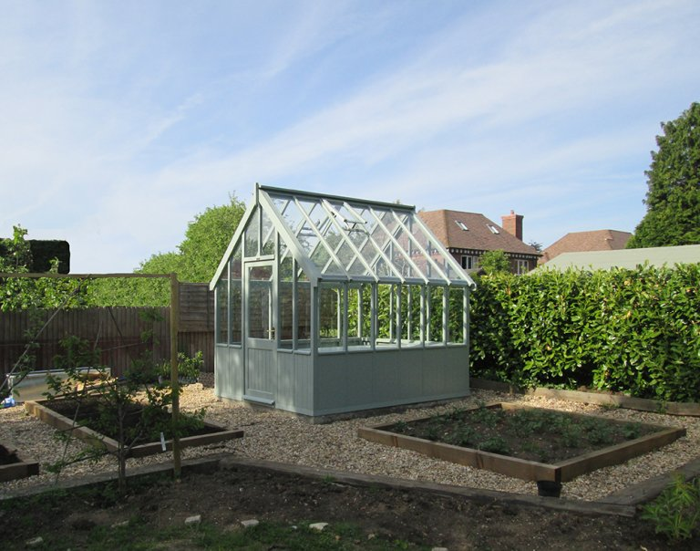 2.4 x 3.0m Greenhouse painted in Sage